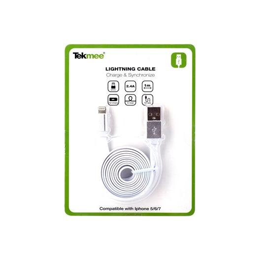 CAVETTO USB PER APPLE 1mt - 1pz BIANCHI -  IPHONE APPLE - TEKMEE
