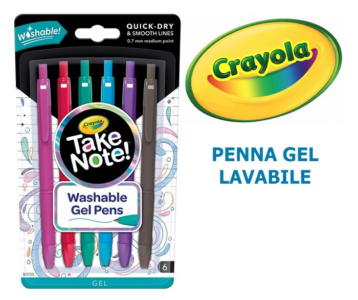 PENNA GEL CRAYOLA 1x6pz LAVABILE BLISTER - TAKE NOTE