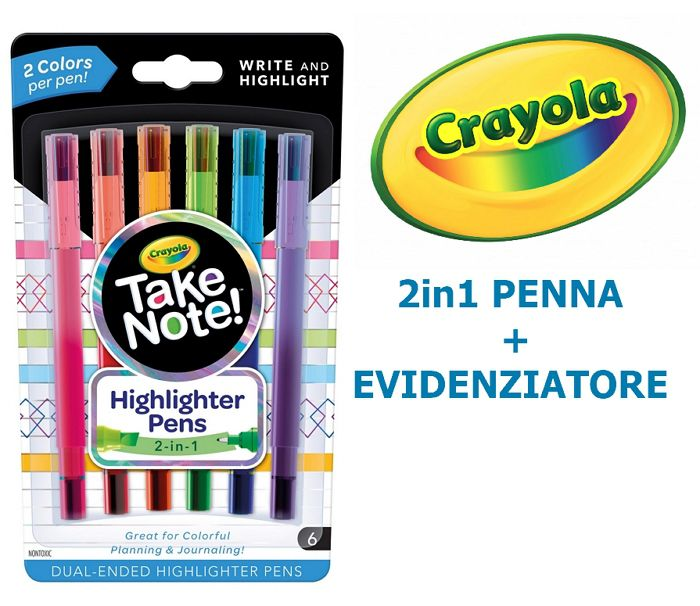 EVIDENZIATORE + PENNA CRAYOLA 2in1- 1x6pz BLISTER - TAKE NOTE